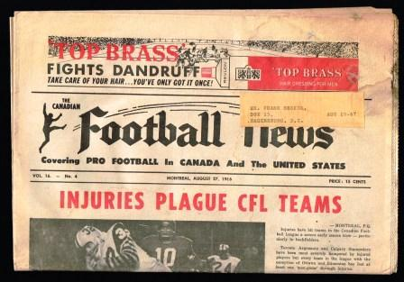 Image for The Canadian Football News; August 27, 1966