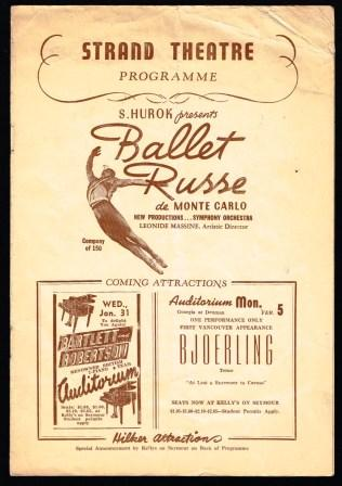 Image for Strand Theatre Programme; S. Hurok Presents Ballet Russe De Monte Carlo, Vancouver, 1940