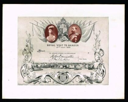 Image for Royal Visit to Bangor, 27th July, 1903; Invitation/Admission to Grand Stand