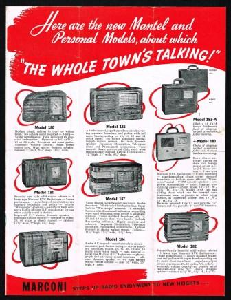 Marconi Radio Receivers Sales Brochure - The Whole Town's Talking About the New Marconi Radio Sets