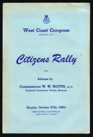 Image for Citizens' Rally and Address By Commissioner W. W. Booth
