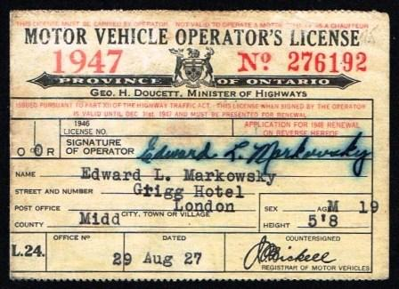 Image for Motor Vehicle Operator's Licence, 1947; Province of Ontario