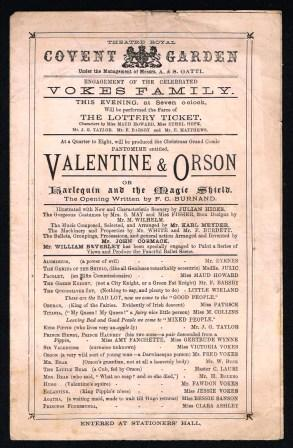 Image for Valentine & Orson, or, Harlequin and the Magic Shield; Theatre Program, C1880