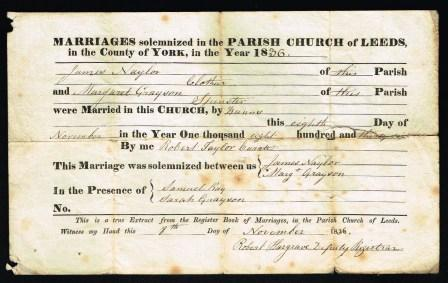 Image for Marriage Certificate; Leeds, UK, 1836