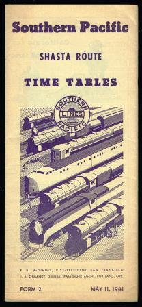 Image for Southern Pacific Shasta Route: Time Tables: May 11, 1941
