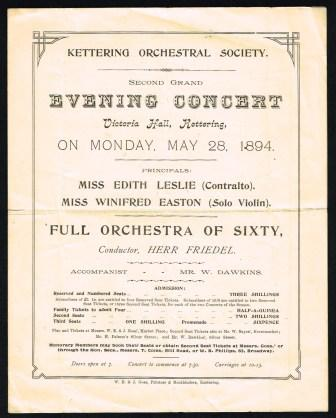 Image for Kettering Orchestral Society Second Grand Evening Concert...1894
