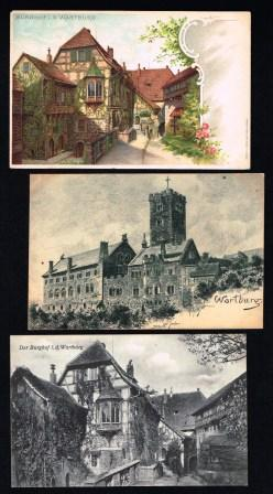 Image for WARTBURG; Lot of 3 Antique Postcards