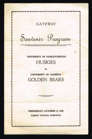 Image for Souvenir Program; University of Saskatchewan Huskies Vs. University of Alberta Golden Bears; October 18, 1939