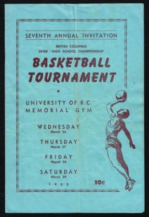 Image for Basketball Tournament Program,  Seventh Annual, 1952; B. C. Inter-High School Championship