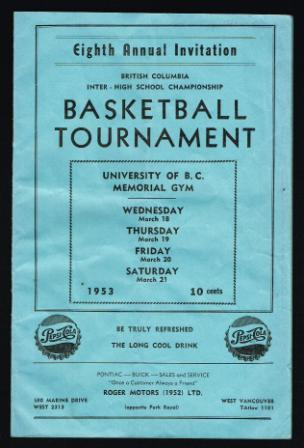 Image for Basketball Tournament Program,  Eighth Annual, 1953; B. C. Inter-High School Championship