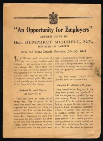 Image for An Opportunity for Employers; Address Given By Hon. Humphrey Mitchell, MP, Minister of Labour