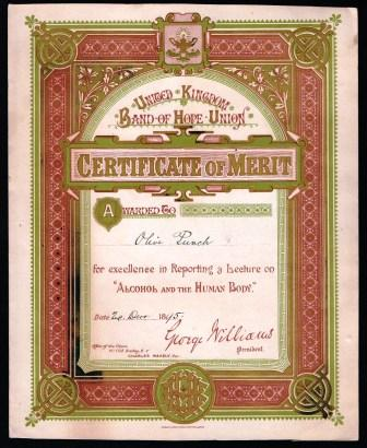 Image for United Kingdom Band of Hope Union; Certificate of Merit, 1895