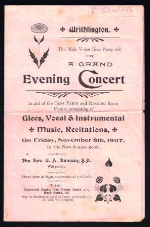 Image for The Male Voice Glee Club, Writhlington will give a Grand Evening Concert, November 8th, 1907
