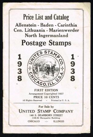 Image for Price List and Catalog of Postage Stamps - Allenstein, Baden, Carinthia, Central Lithuania, Marienwerder, North Ingermanland; 1938