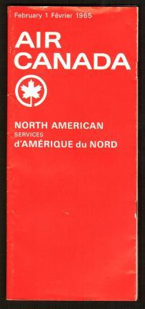 Image for Air Canada: North American Services Timetable, February 1, 1965