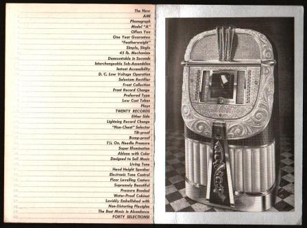 Image for Brochure for the AMI Model 'A' Jukebox
