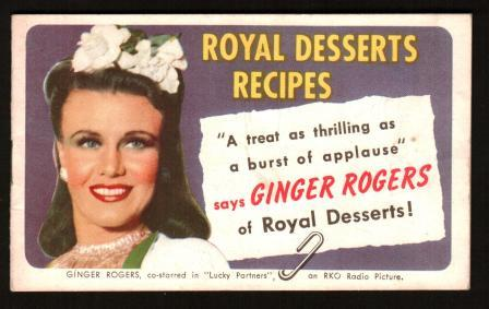 Image for Royal Dessserts Recipes with Ginger Rogers, Book R8-40