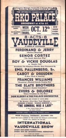 Image for Handbill for a Vaudeville Program at a New York Theater, 1950