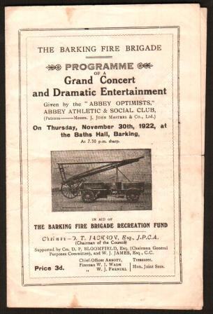 Image for Programme of a Grand Concert and Dramatic Entertainment ...November 30th, 1922 at the Baths Hall, Barking