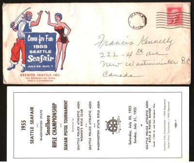Image for Seattle Seafair 1955 Envelope and Enclosures for Firearms Competitions