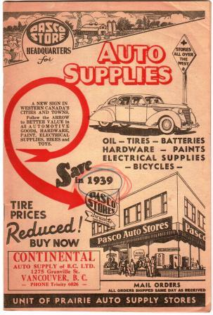 Image for Auto Supplies Catalog, Continental Auto Supply of BC: 1939