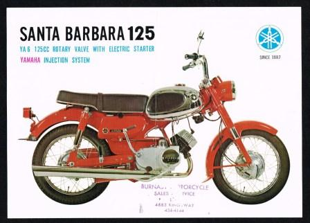 Image for Santa Barbara 125; Yamaha YA6 Motorcycle Leaflet, c.late 1960s