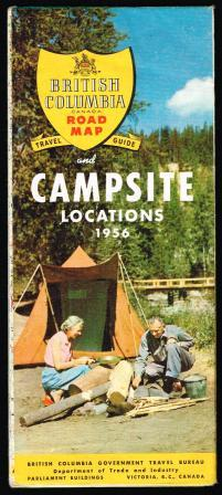Image for British Columbia Road Map, Travel Guide and Campsite Locations, 1956