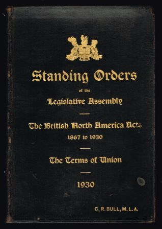 Image for Standing orders of the Legislative Assembly of British Columbia