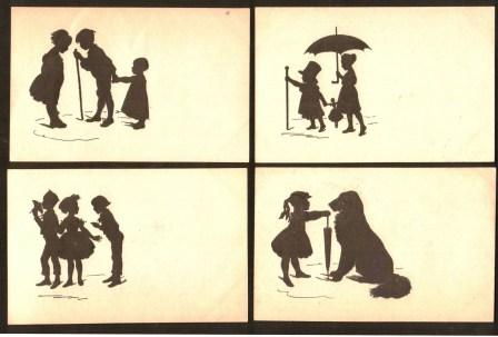 Image for Lot of Four Antique Danish Silhouette Postcards