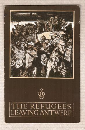 Image for The Refugees Leaving Antwerp, in Belgium in 1914: Postcard, Poster Style