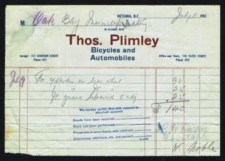 Image for Thos. Plimley Commercial Invoice; Victoria, BC, 1912