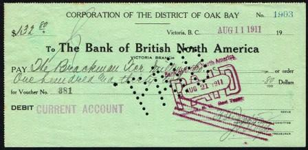 Image for Cancelled Cheque drawn on the Bank of British North America, Victoria, BC Branch; 1912