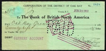 Image for Cancelled Cheque drawn on the Bank of British North America, Victoria, BC Branch; 1911