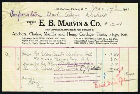 Image for Commercial Invoice from E. B. Marvin & Co., ShipChandlers, Importersand Dealers in Anchors, Chains, Manilla and Hemp Cordage, Tents, Flags, Etc.