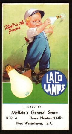 Image for Advertising Blotter for Laco Lamps and McBain's General Store, Newton, BC