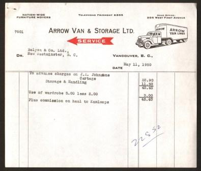 Image for Arrow Van & Storage Commercial Invoice: Vancouver, 1950