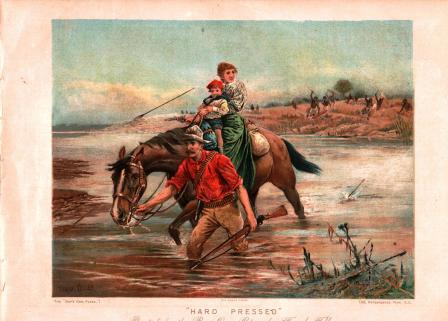 Image for 'Hard Pressed': ChromoLitho Print from Boy's Own Paper, C1880s