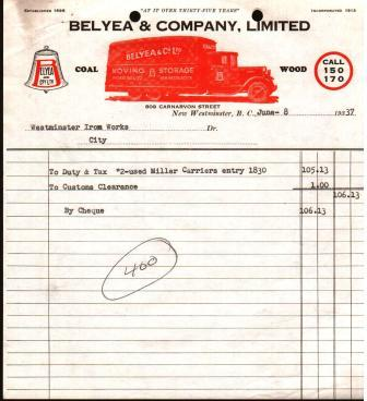 Commercial Invoice from Belyea & Company, New Westminster, 1937