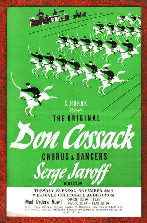 Handbill for a Concert by the Original Don Cossack Chorus & Dancers, Serge Jaroff, Director