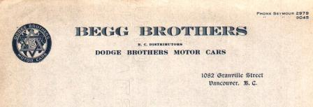 Image for Unused letterhead from Begg Brothers, BC Distributor of Dodge Brothers Motor Cars