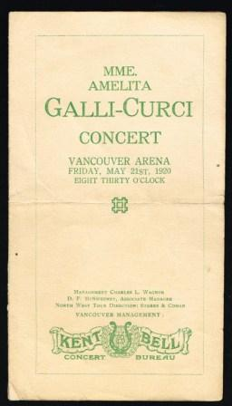 Image for Mme. Amelita Galli-Curci Concert; Program, Vancouver, 1920