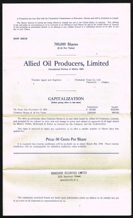 Image for Share Offering from Allied Oil Producers, Alberta; 1950