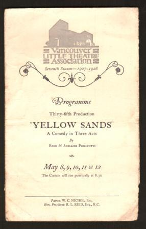 Image for Programme for 'Yellow Sands: A Comedy'; 1928