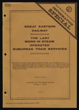 "Image for Great Eastern Railway: the last word in steam-operated suburban train services: a special study of the Great Eastern Railway's improved suburban service ... Reprinted from ""The Railway Gazette"", October 1, 1920. [With illustrations and plans.]."