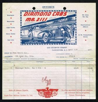 Image for Invoice from Diamond Cabs, Vancouver, BC; 1942