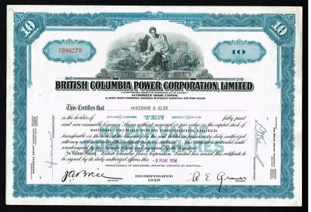 Image for British Columbia Power Corporation Share Certificate: 1954