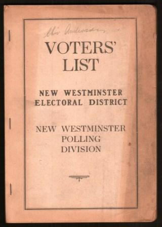 Image for Voters' List, New Westminster Electoral District, New Westminster Polling Division; May 1st, 1939