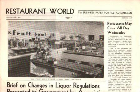 Image for Restaurant World: the Business paper for Restaurantmen: Vancouver, March 1947