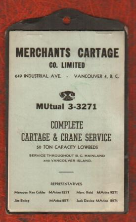 Image for Vancouver Telephone Note Book from Merchant's Cartage: c1950