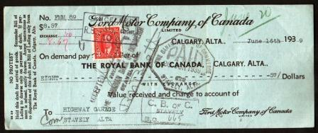 Image for Cancelled Cheque from Ford Motor Co. of Canada, 1939